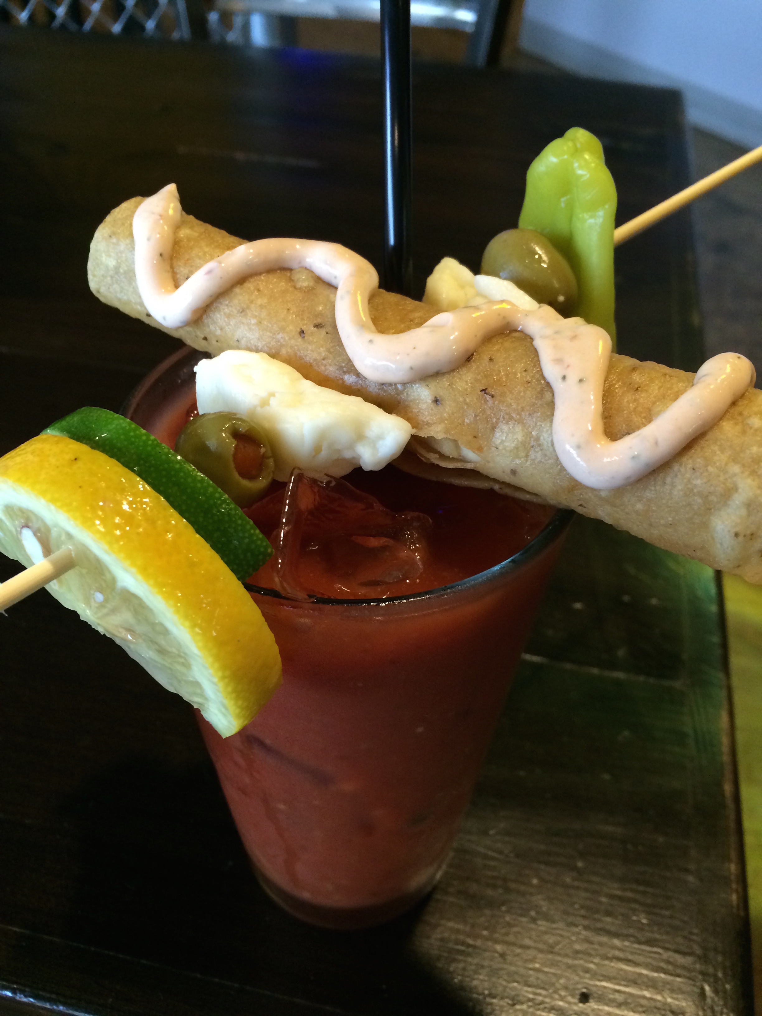 The Peppers & Fries Deluxe Bloody comes with a chicken taquito! Photo provided by Peppers & Fries
