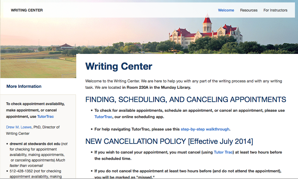 Old Writing Center homepage (click to expand)