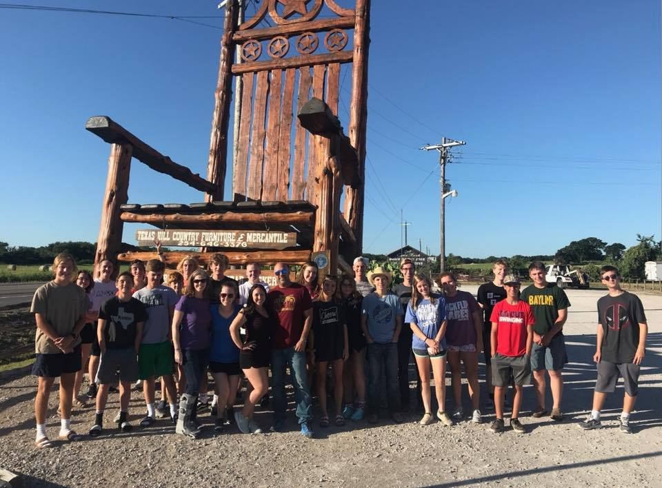 - 24 High School students and 8 adult leaders left today for Puerto Penasco Mexico. They started a new tradition this morning. This pic was made in Lipan Texas. Keep them in your prayers this week!UPDATE @ 7:20 PM: Team arrived in New Mexico for the night. Will continue the journey to Mexico bright and early tomorrow  morning.