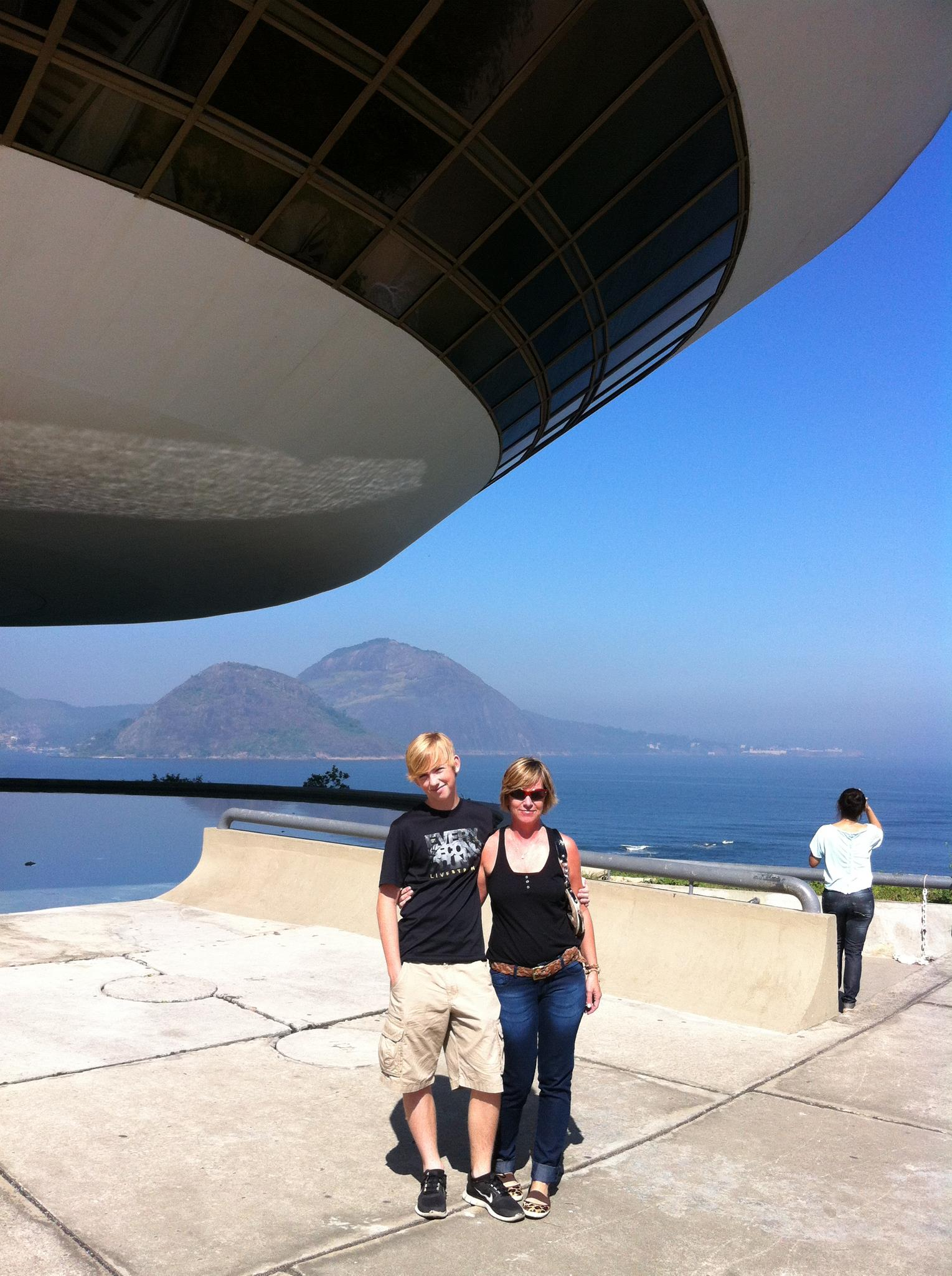 My son and I at the Museum of Contemporary Art  MAC  in Niteroi, Brazil designed by the famous Brazilian architect  Oscar Niemeyer .