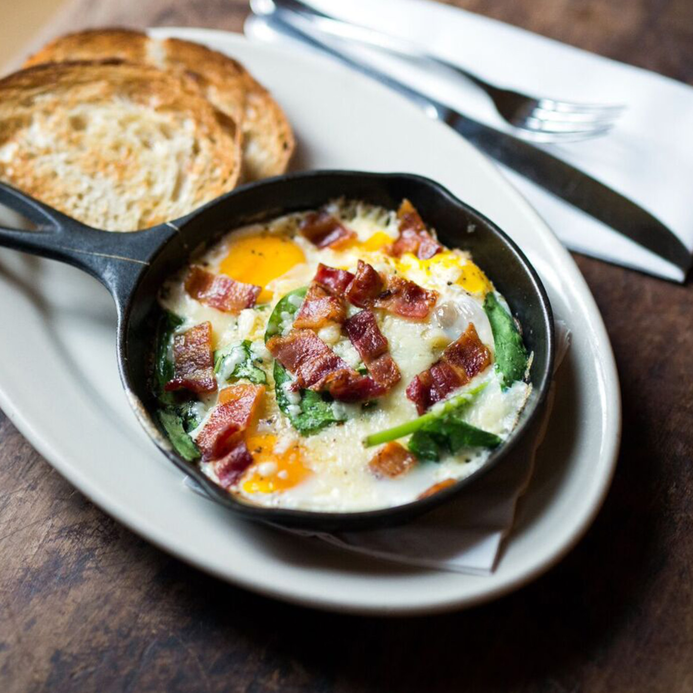 Baked Eggs & Bacon