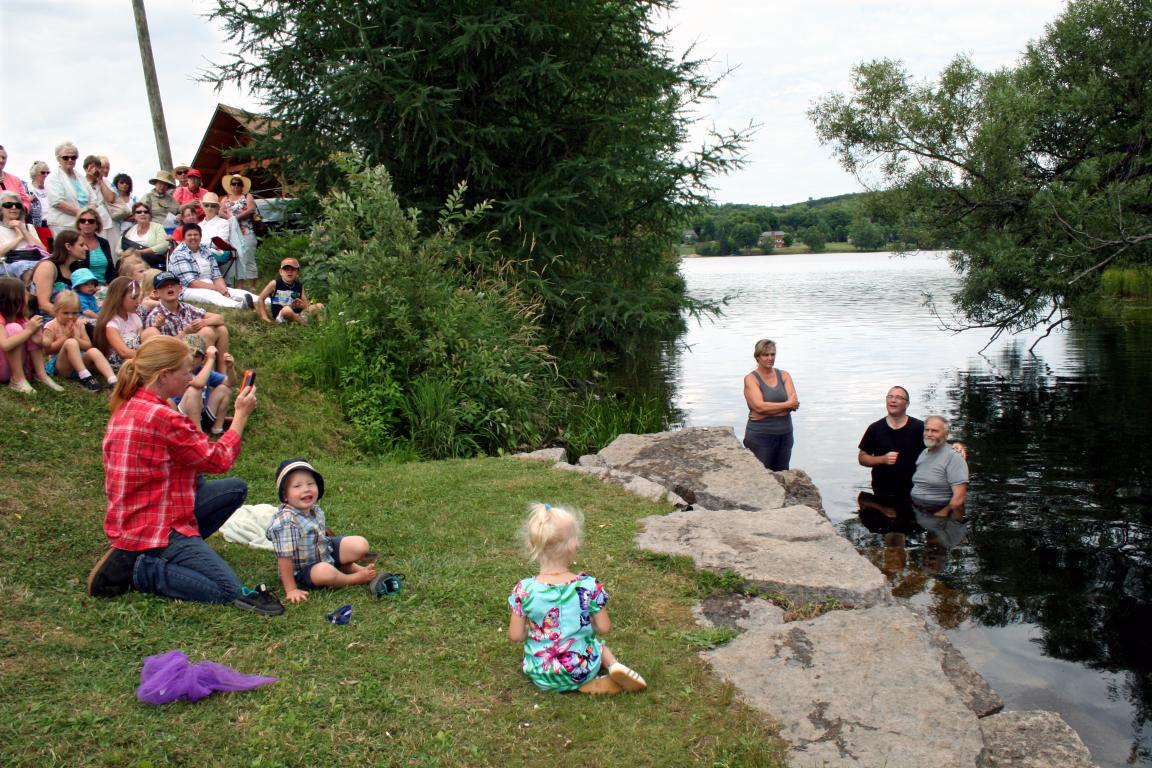 lakeside Baptist church holds several baptisms in the lake after the service!