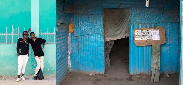Mustafa Saeed . Somalia.Left: Young men celebrate Eid Al-Odha in Hargeisa. Right: A local cinema that still bears the scars of war. It is difficult to get electricity and to afford TV sets, so people gather together to watch Bollywood films and football matches.