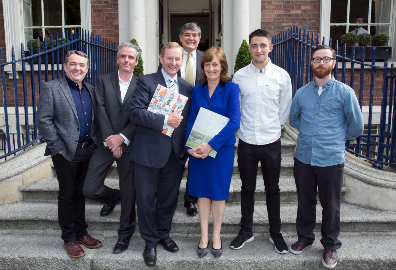 From left to right, Paul Seawright, Donovan Wylie, An Taoiseach Enda Kenny, Atlantic CEO Christopher Oechsli and Country Director Mary Sutton (front), Richard Wade, and Andrew Rankin. © Paul Sharp