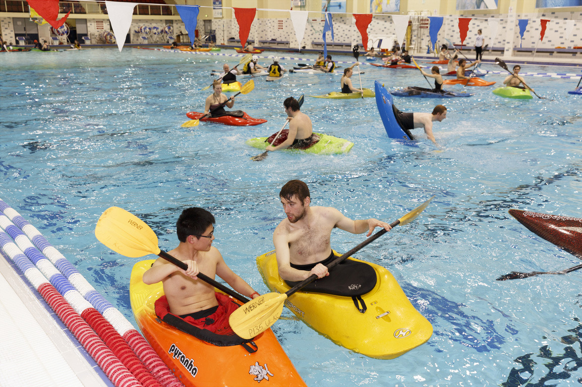 Late night kayaking at University Arena Pool, Ireland's first Olympic-size pool, University of Limerick. © Martin Parr