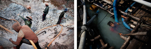 Left: Workers at a tin ore mine in District Sungai Liat of Bangka Island, 2014. Working conditions in mines like these are extremely dangerous and landslides are common.  Right: Makeshift rafts on the Indian Ocean are used as mining platforms. Miners dig for tin by sucking the sand from the sea floor with machines. Divers dive eight meters below the surface sucking tin ore from the seabed through a large, plastic tube. Indonesia, 2014.