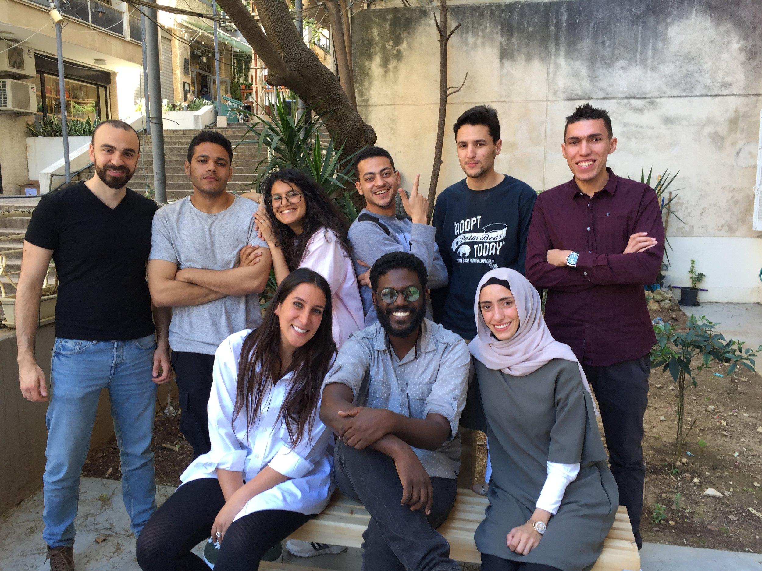 (left to right) Tarek Haddad, Ahmed Gaber, Btihal Remli, Mohamed Mahdy,Fethi Sahraoui,Hesham Elsherif (front)Sima Ajlyakin, Mohamed Altoum, Rawan Mazeh