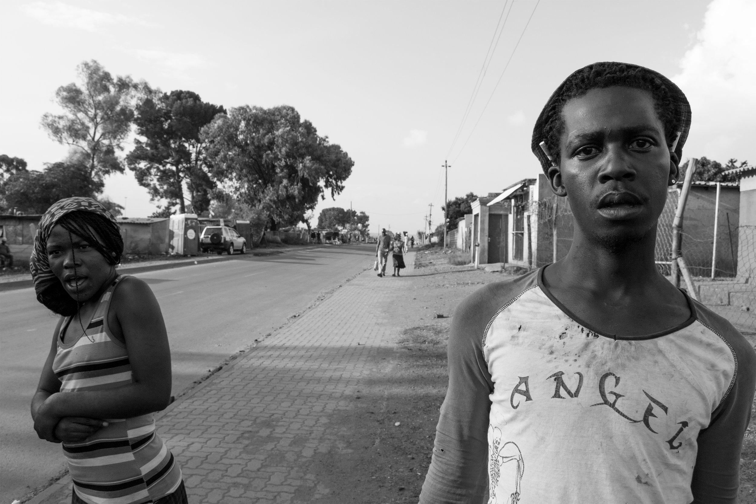 "Lindokhule Sobekwa,  Nyaope , Katlehong, South Africa, 2014. Tshepo wears a t-shirt that says ""angel,"" it belongs to his girlfriend."