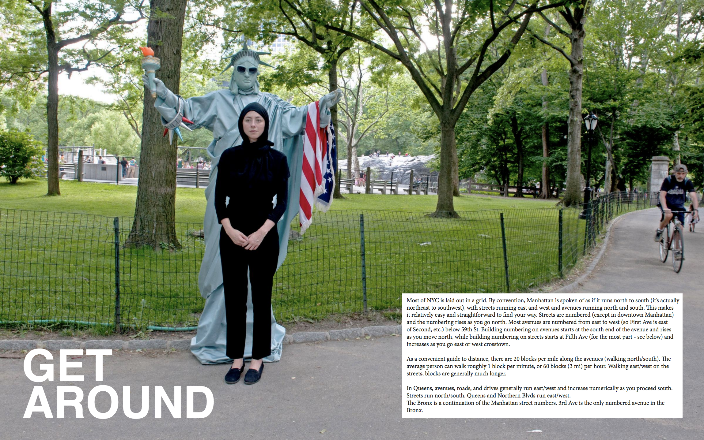 Travel Guide for Mama is a  conceptual travel guide  with advice, safety tips, and insights gleaned from interviews with dozens of women describing their daily experiences and encounters with discrimination while wearing hijab in New York.