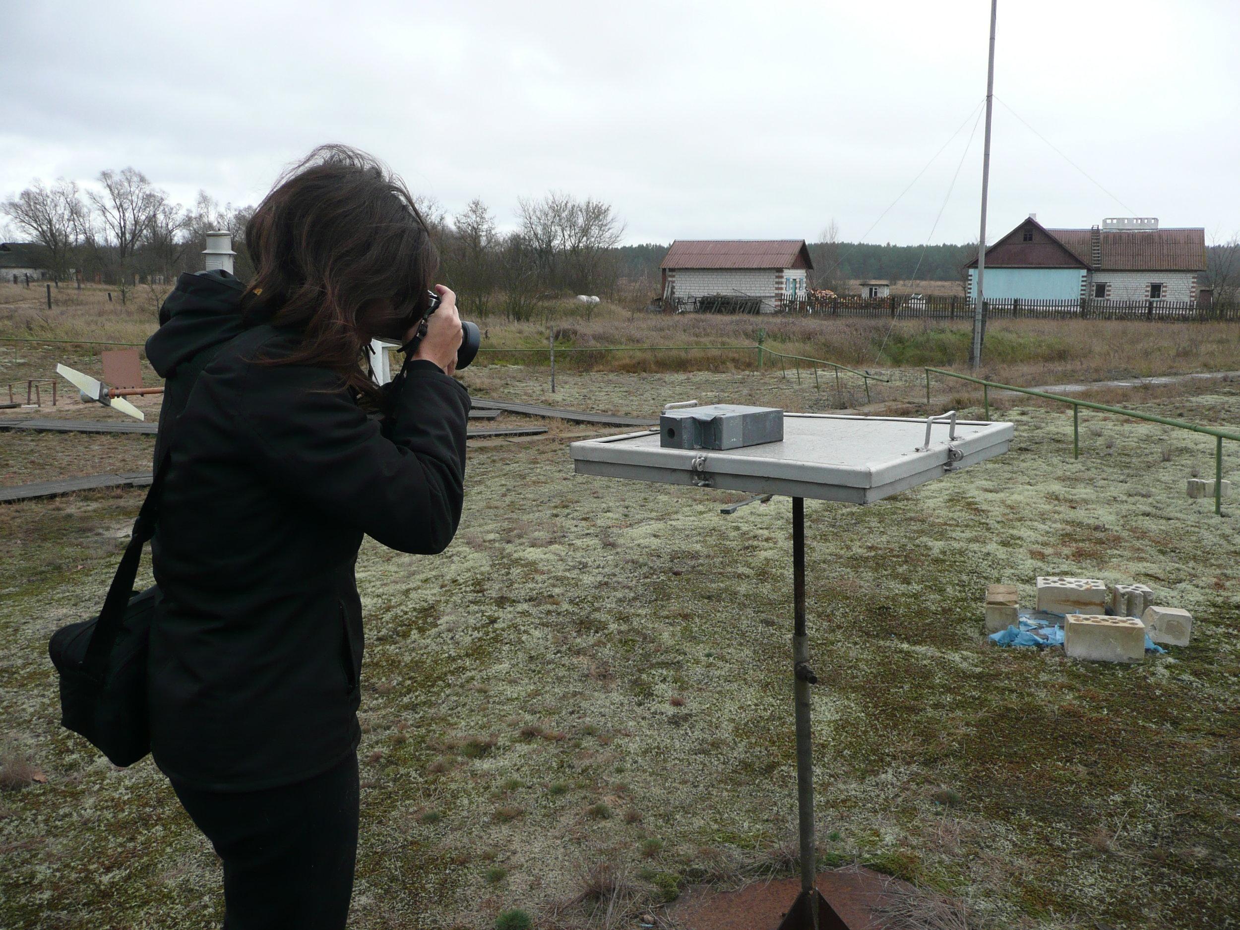 Alice Miceli in the Chernobyl Exclusion Zone.  Photo by Edmund Lengfelder.