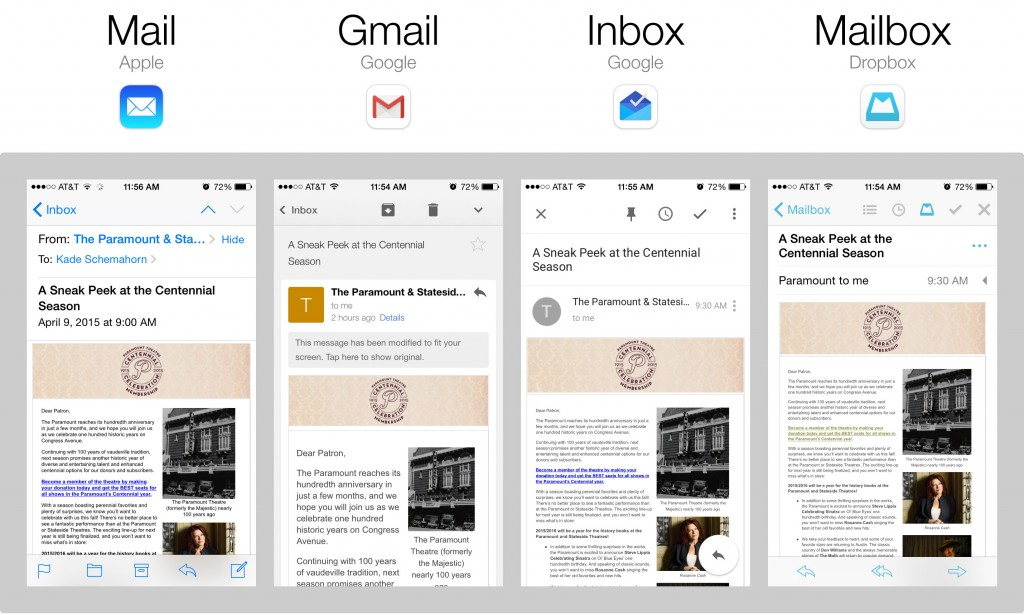 Screenshots of 4 different iOS mail apps
