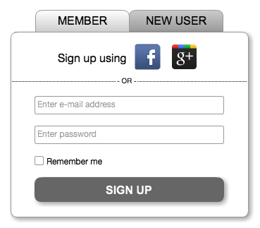 Sign-up form snippet