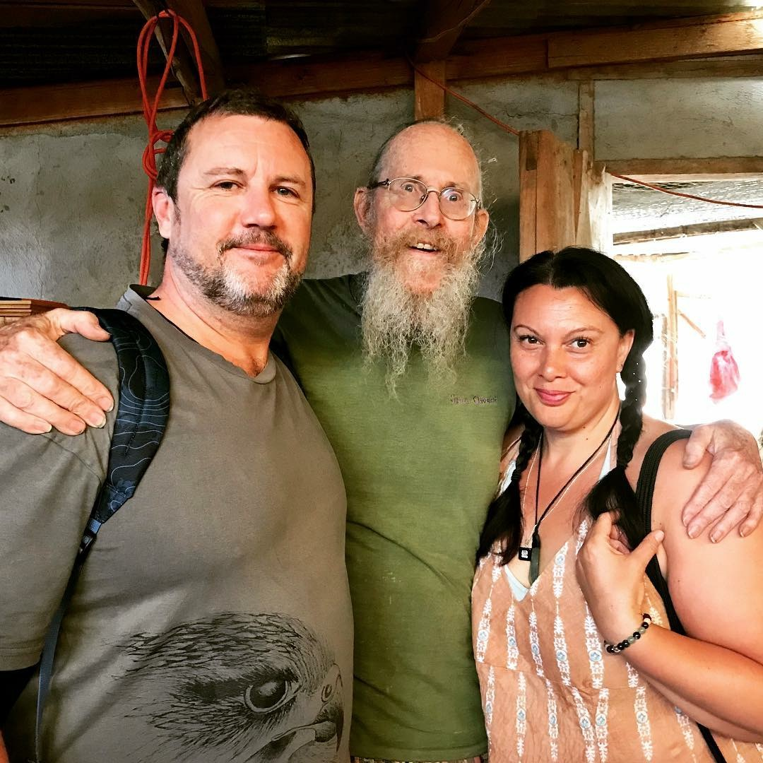 Chocolate Shaman Keith Wilson with Rosanna and Benton from Aroha Love (New Zealand) in San Marcos, Guatemala 2018