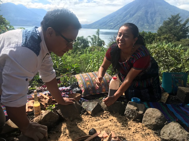 Shamans Izaias Mendoza Sajvin and Ana Izabel Perez during Mayan Fire Ceremony in San Marcos, Guatemala 2018 - Joyful Living Retreat
