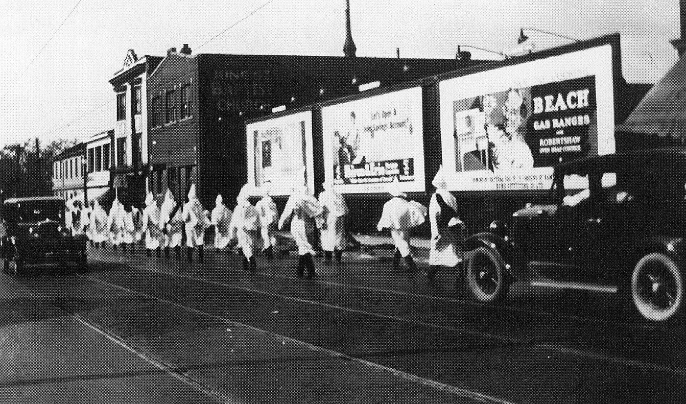 Members of the Klan marching on King Street West circa 1930. Courtesy of the Hamilton Public Library.