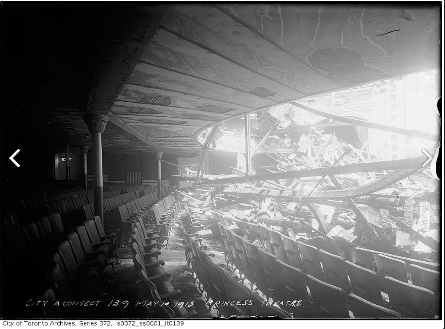 """Princess Theatre ruins after fire."" 10 May 1915. City of Toronto Archives, Fonds 200, Series 372, Subseries 1, Item 139."
