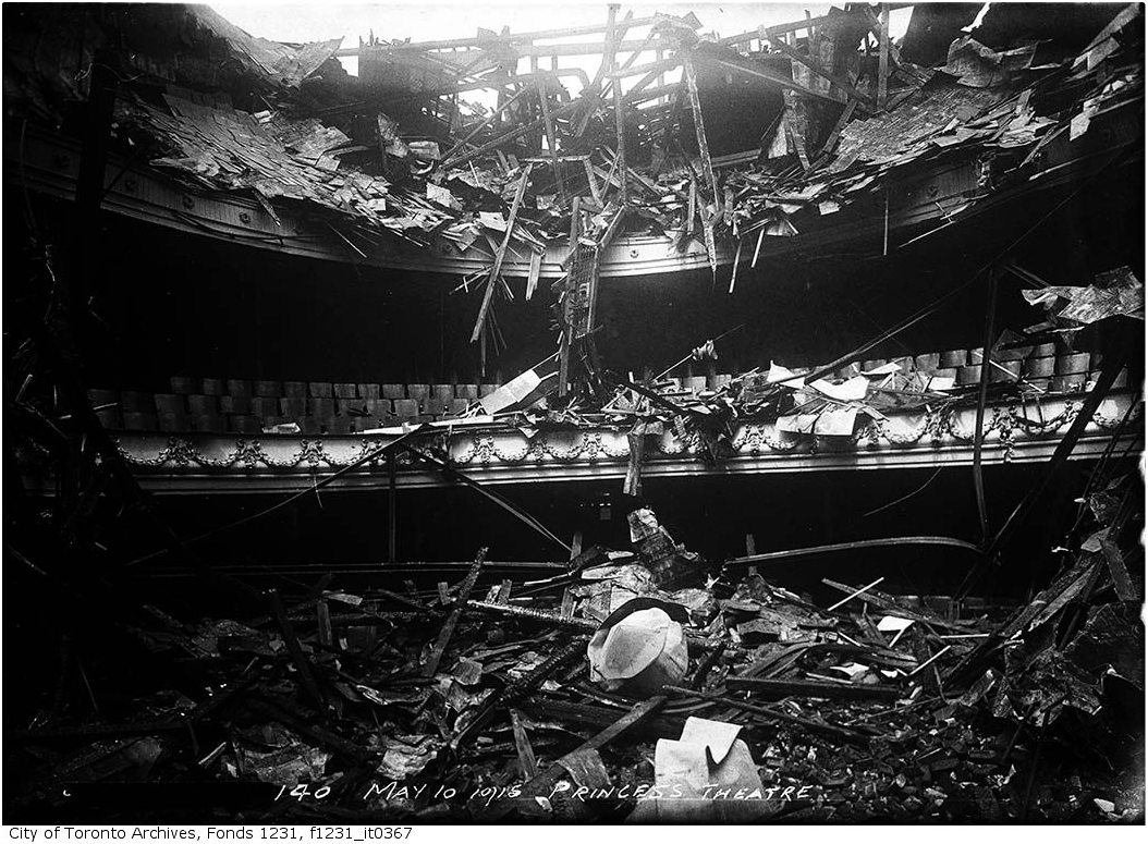"""Princess Theatre ruins after fire."" 10 May 1915. City of Toronto Archives, Fonds 1231, Item 367."