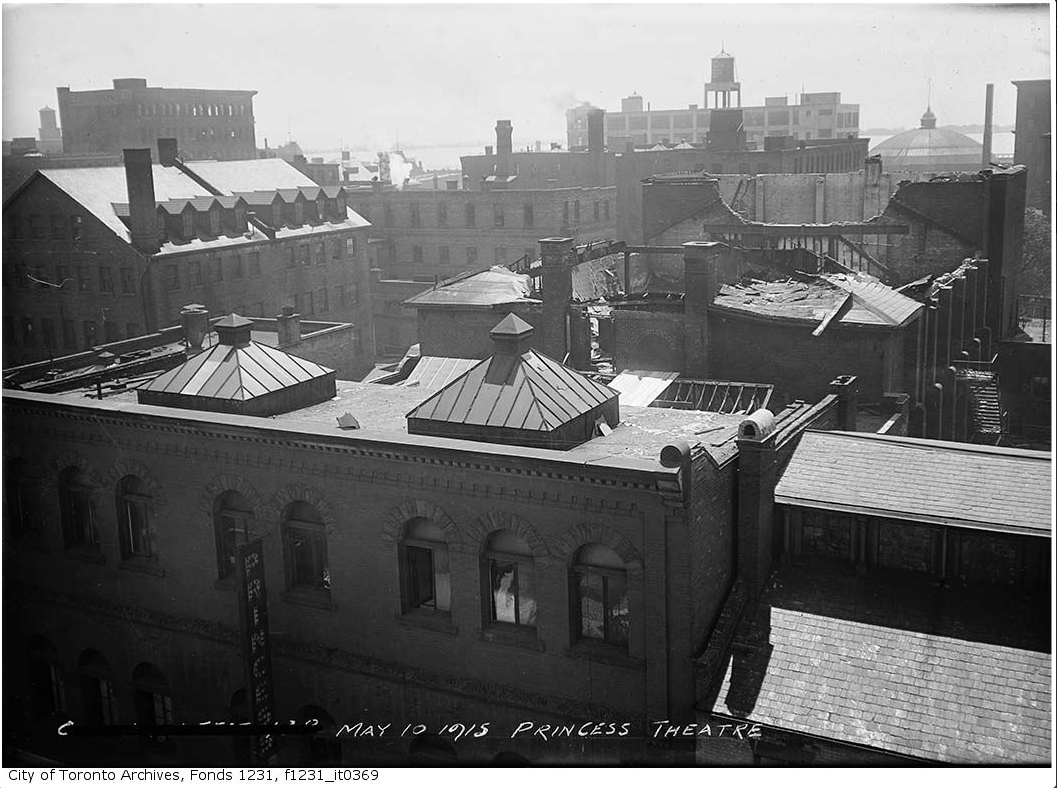 """Princess Theatre ruins after fire."" 10 May 1915. City of Toronto Archives, Fonds 1231, Item 369."