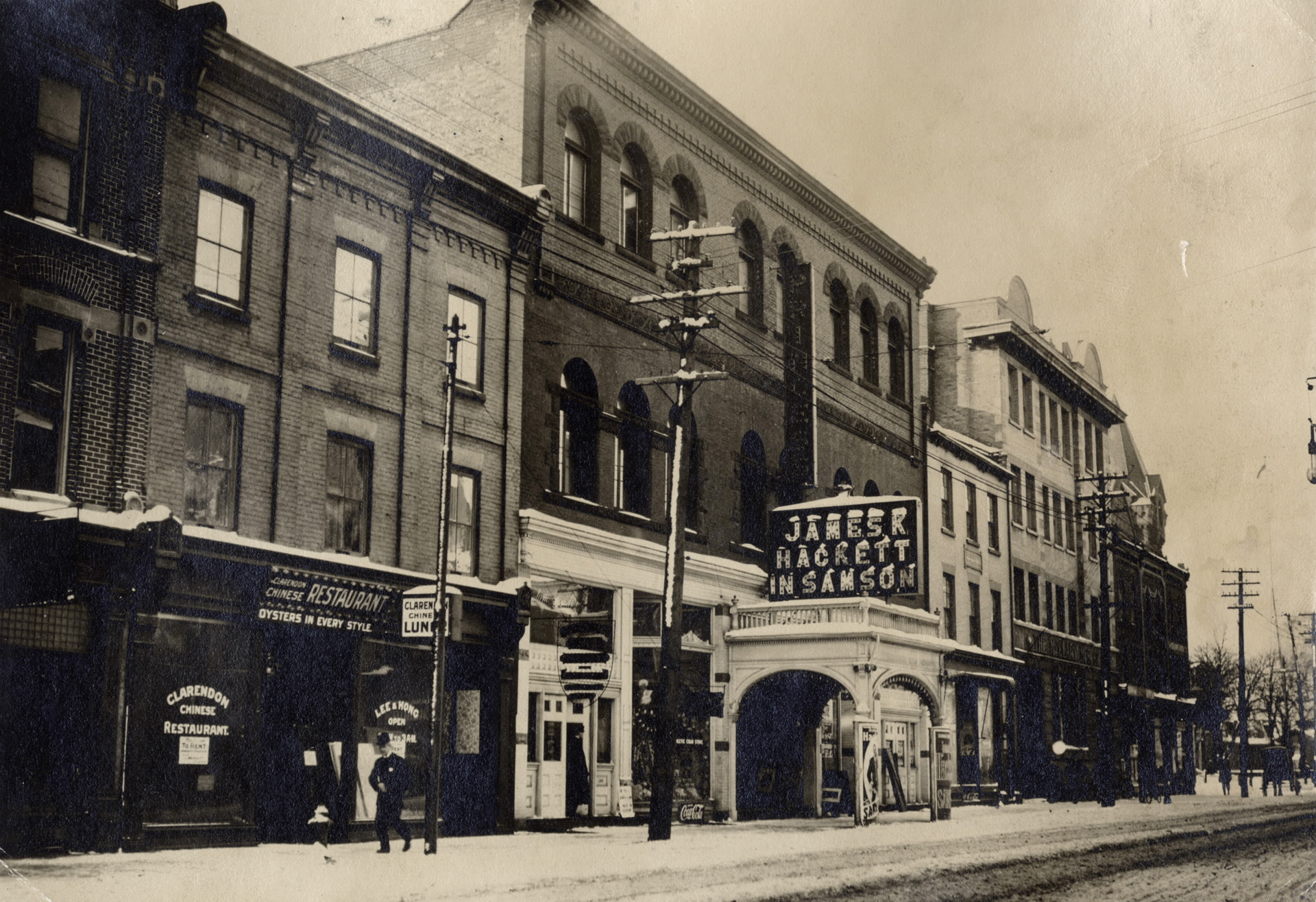 "Princess Theatre - seen from King Street, 1910.  ""King St. W., south side, between York & Simcoe Sts., showing Princess Theatre. Toronto, Ont."" Toronto Public Library. Toronto Reference Library, Baldwin Collection, B 5-30b.  www.torontopubliclibrary.ca/detail.jsp?Entt=RDMDC-B5-30B&R=DC-B5-30B"