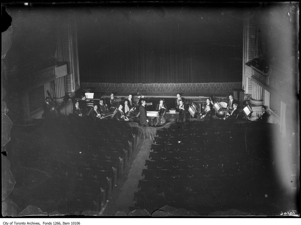 "Regent Theatre - Orchestra Rehearsal - 1927  ""Regent Theatre Orchestra"" City of Toronto Archives. Fonds 1266, Item 10106."