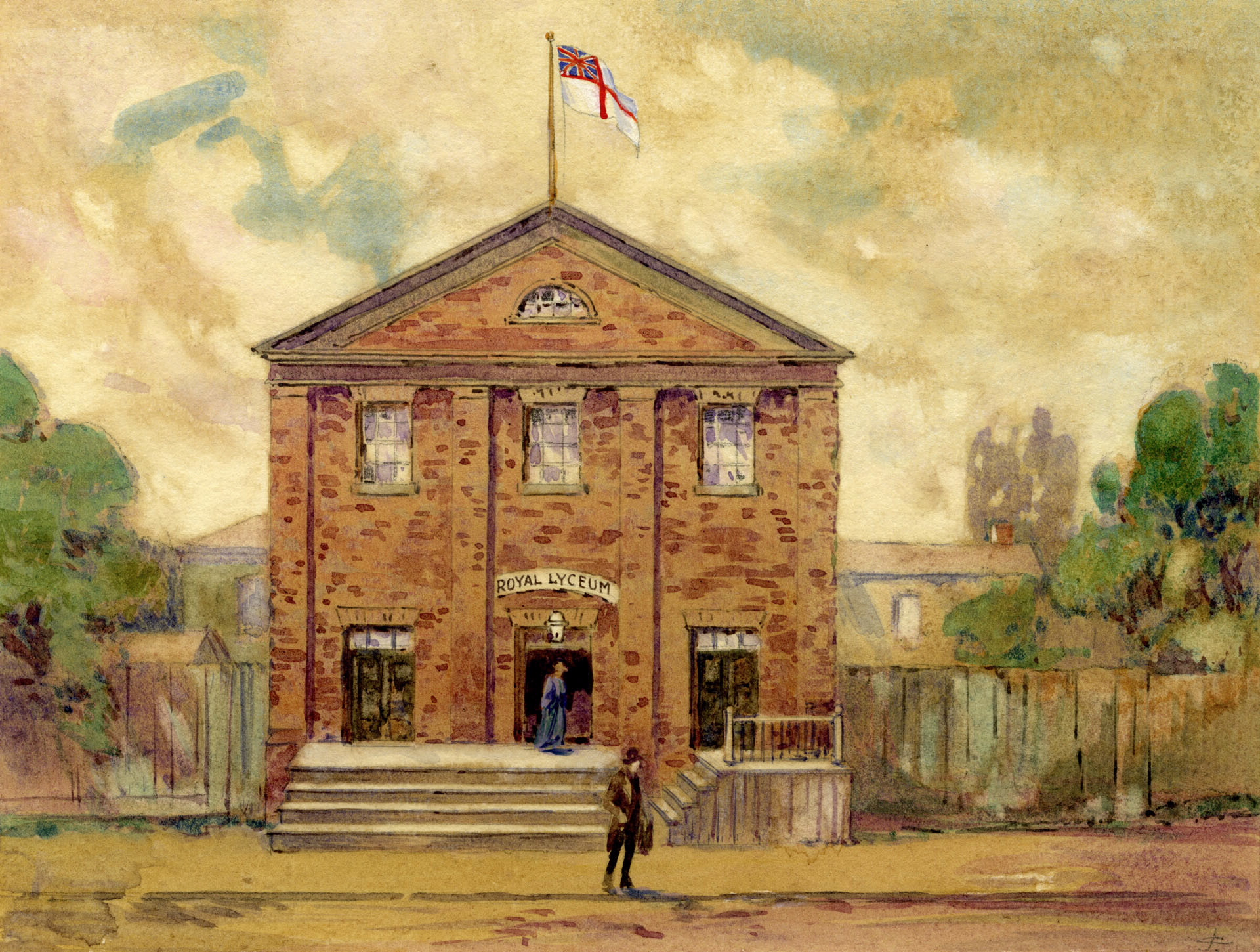 "Royal Lyceum Theatre - Exterior  Cotton, John Wesley. ""Royal Lyceum Theatre, King St. W., s. side, between Bay & York Sts."" Toronto Public Library. Toronto Reference Library, Baldwin Collection, JRR 857.  www.torontopubliclibrary.ca/detail.jsp?R=DC-PICTURES-R-6837"