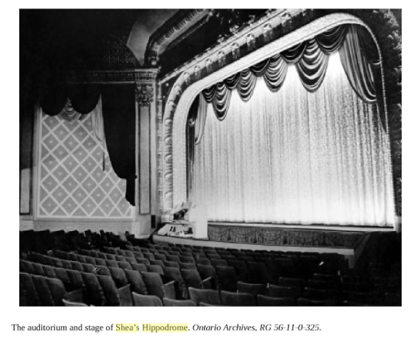 Shae's Hippodrome - Interior  Auditorium and Stage of Shea's Hippodrome. Ontario Archives, RG 56-11-0-325.   books.google.ca/books?id=zHyACQAAQBAJ&pg=PT28&lpg=PT28&dq=Shea's+hippodrome&source=bl&ots=BWpV3V9pn0&sig=V18EmYYV_Gw7mmV2lsH9EYTZ_Jo&hl=en&sa=X&ved=0ahUKEwignOqAxebTAhVq2IMKHZT6DSs4ChDoAQgzMAU#v=onepage&q=Shea's%20hippodrome&f=false