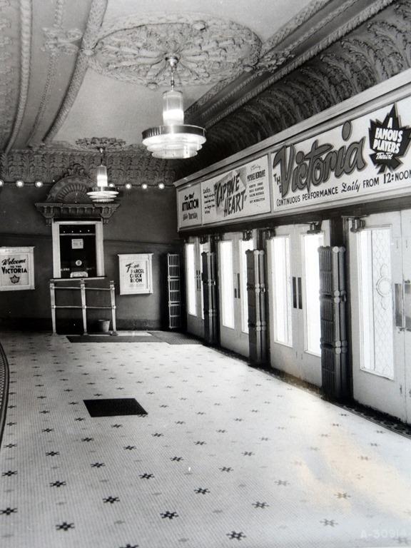 "Shea's Victoria Theatre - Lobby - 1946  Taylor, Doug. ""Toronto's old Shea's Victoria Theatre."" Historic Toronto: Information on Toronto's History. April 2017.   tayloronhistory.com/2015/04/17/torontos-old-sheas-victoria-theatre/"