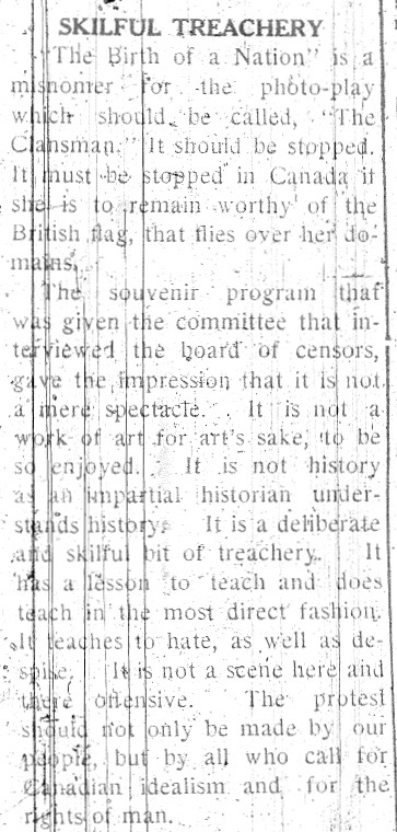 Article from The Canadian Observer, a newspaper published for the black community by J.R.B Whitney from 1914 to 1919. September 18, 1915.