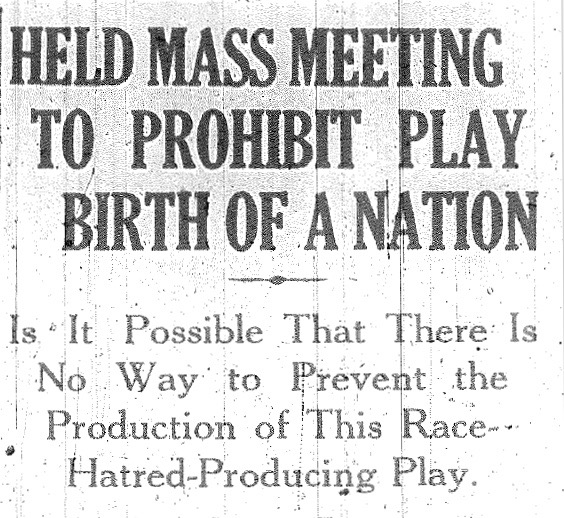 Article reporting a mass meeting held in Windsor, Ontario to support the prohibition of the film  The Birth of a Nation  (sometimes referred to as 'photoplay'). From The Canadian Observer, December 4, 1915.
