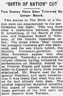 Article from the Toronto Star, September 22, 1915.