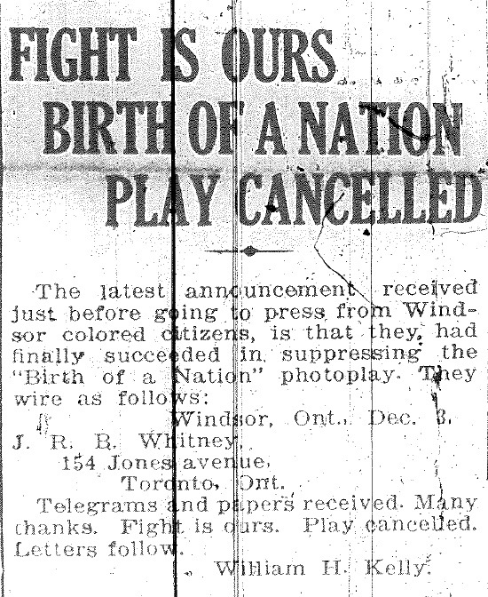 Announcement sent to J.R.B. Whitney, publisher of the The Canadian Observer, after The Birth of a Nation was cancelled in Windsor. From The Canadian Observer, December 4, 1915.