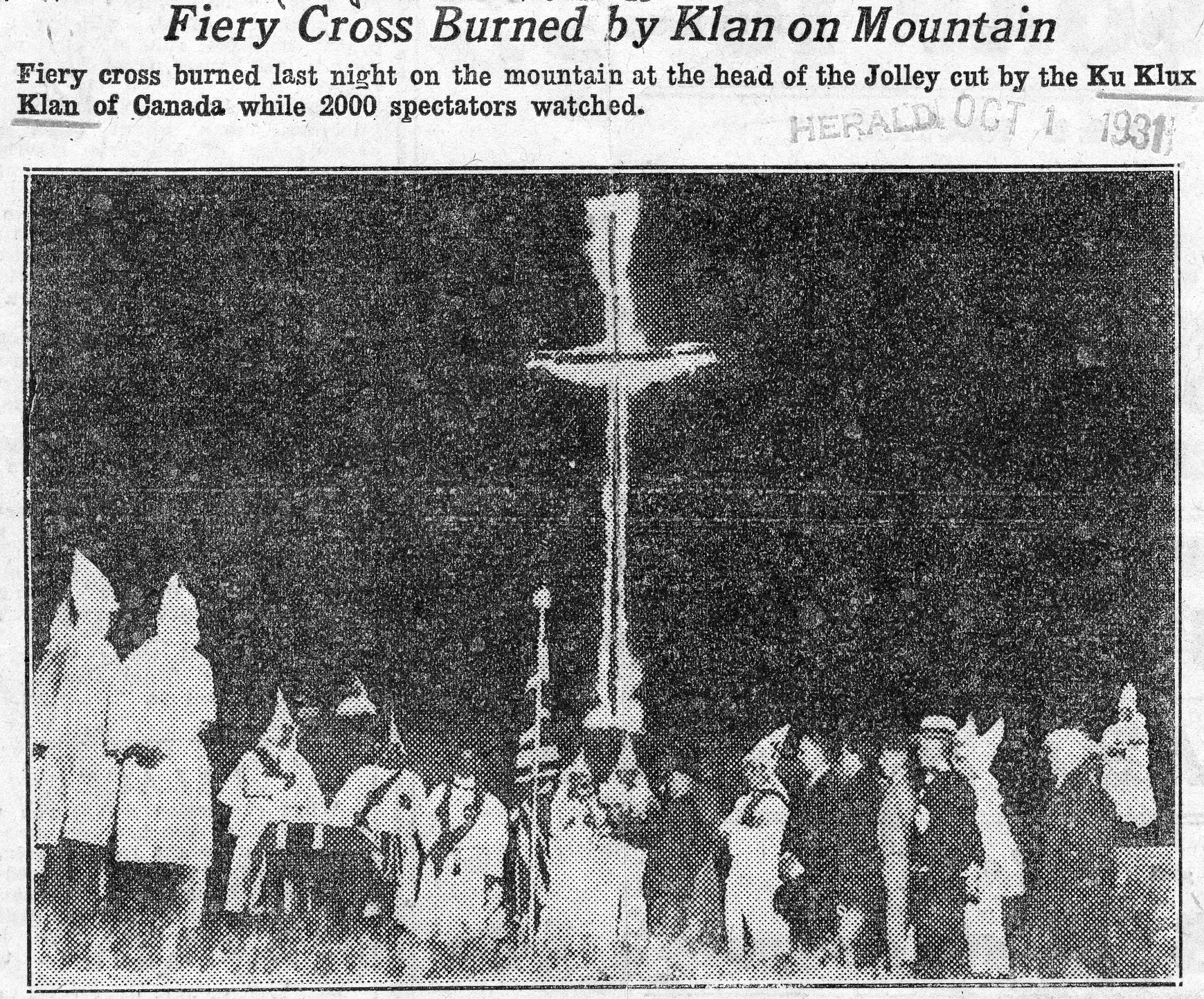 A cross burning at the top of Hamilton Mountain, from the Hamilton Herald, 1 October 1931.