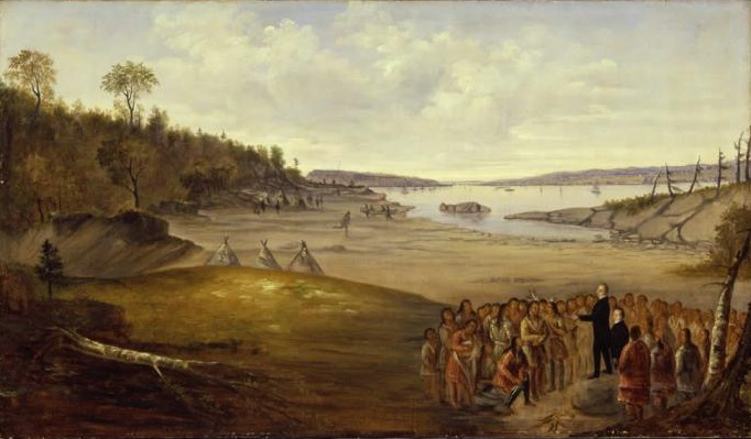 "A painting by the Quebecois artist Joseph Légaré, called in French "" Paysage avec un orateur s'adressant aux Indiens "" (""Landscape with an orator addressing the Indians""). Musée de Beaux-Arts, Montreal, Canada. ca. 1843."