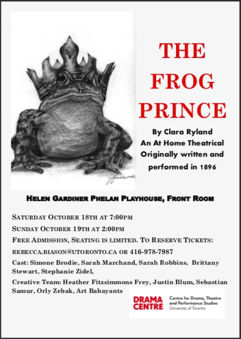 """""""The Frog Prince"""" programme, Toronto 2014."""