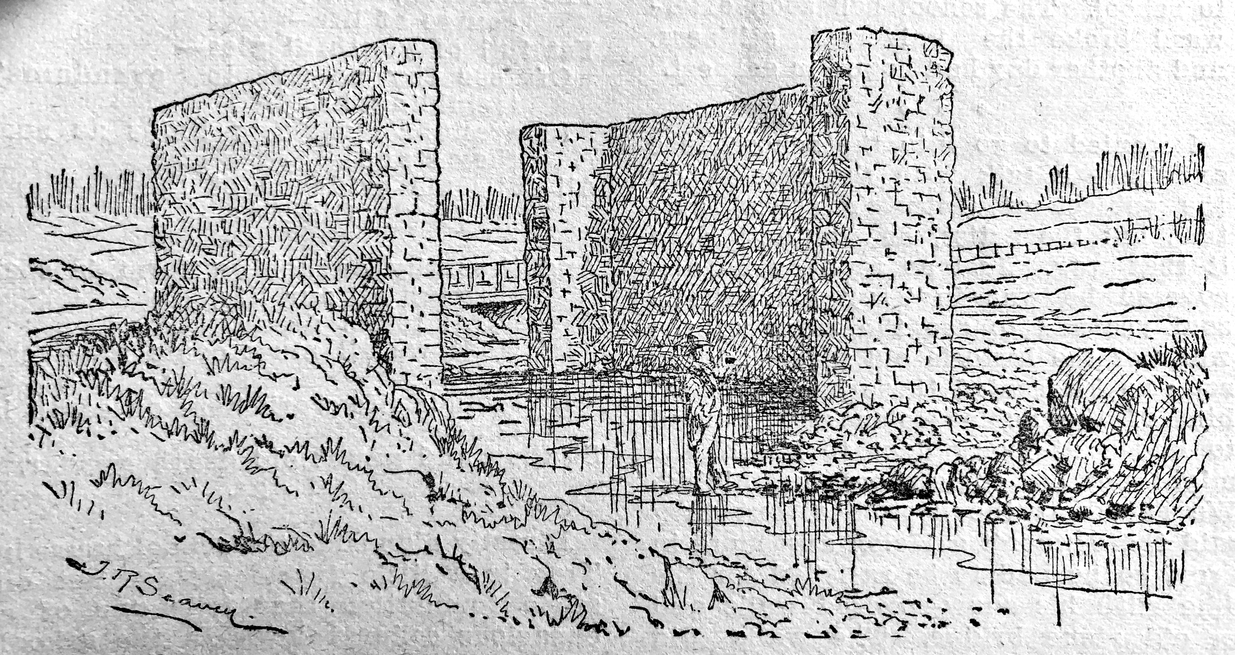 Ruins of the Romulus Grist Mill. Illustration by J. R. Seavey, published in Pen and Pencil Sketches of Wentworth Landmarks. Hamilton, Ont: Spectator Printing Company, 1897.