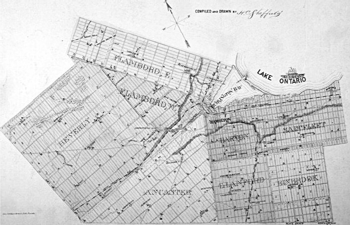 Wentworth County circa 1875, showing its location at the western tip of Lake Ontario, and its separate townships. Beverly Township is one the left. From Wentworth County: Illustrated historical atlas of the Count of Wentworth, Ont. Toronto: Page and Smith, 1875.