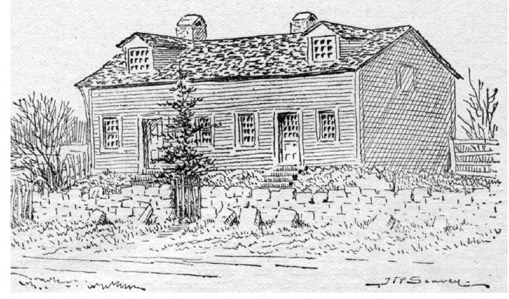 Building on the site chosen for the Catholic Cathedral. Though never build, local residents still identified specific locations according to his now-lost city plan, as if it had been surveyed and build. Illustration by J. R. Seavey, published in Pen and Pencil Sketches of Wentworth Landmarks. Hamilton, Ont: Spectator Printing Company, 1897.