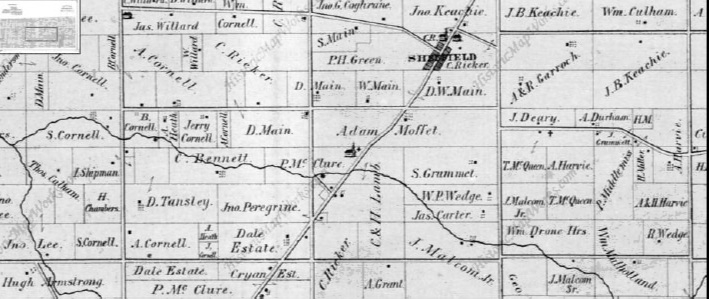 From an 1875 map. Henry Lamb's son George remains in possession of some of the land, south west of the village of Sheffield, but by this time the area had been subdivided, sold and cleared of all but traces and ruins of Romulus. From Wentworth County: Illustrated historical atlas of the Count of Wentworth, Ont. Toronto: Page and Smith, 1875.