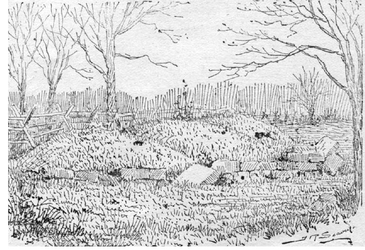 The graves of Thomas Lamb, his wife and brother, as they looked circa 1897, the ruin of a ten foot high cairn. Illustration by J. R. Seavey, published in Pen and Pencil Sketches of Wentworth Landmarks. Hamilton, Ont: Spectator Printing Company, 1897.