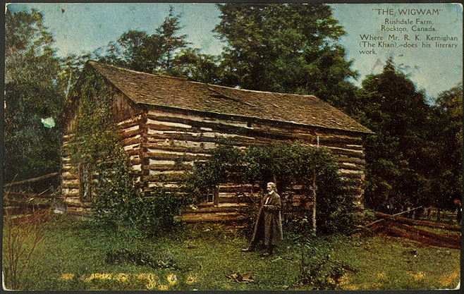 "Postcard of ""The Wigwam,"" a log building at Rushdale Farm, Rockton, Ontario, where R. K Khernigan (The Khan) did his writing, according to local legend. From the Toronto Public Library."