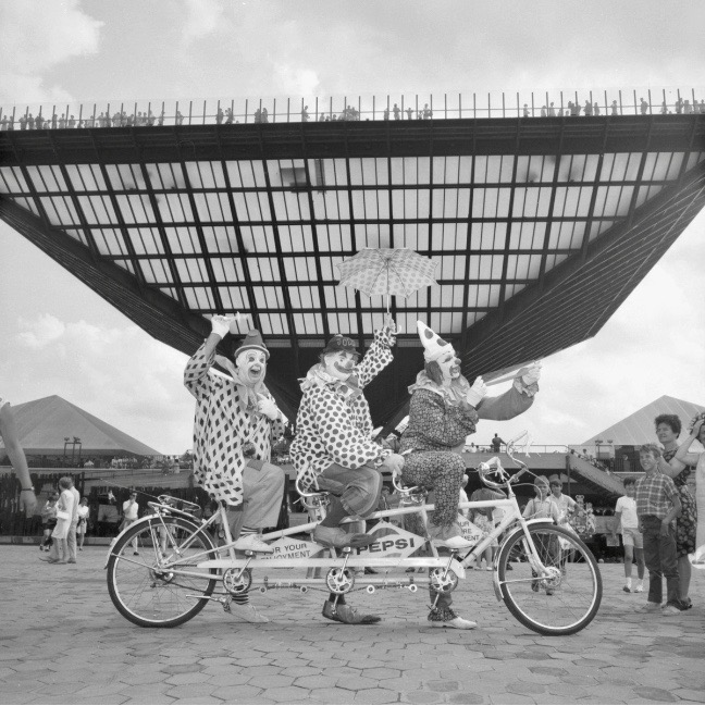 Clowns in front of the Canadian Pavilion at Expo 67, Montreal. © Government of Canada. Library and Archives Canada
