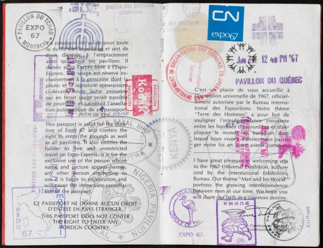 Expo 67 Visitor's Passport. © Government of Canada. Library and Archives Canada