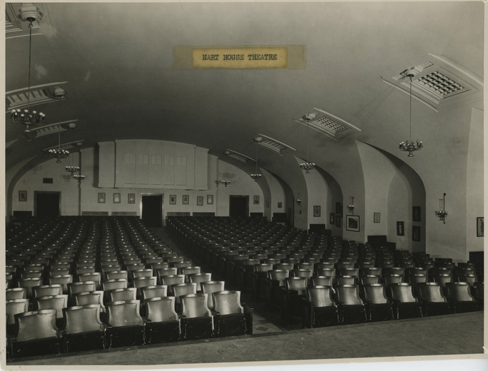 "Hart House Theatre Auditorium circa 1930. ""About.""  Hart House 100th Anniversary,  University of Toronto, 2019. www.harthouse100.ca/about-us/"