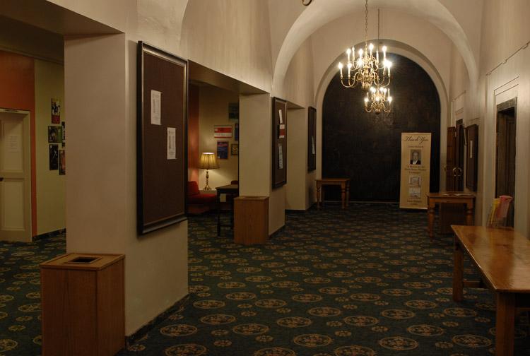 "Hart House Theatre, Lobby circa 2013. ""Theatre Rentals.""  Hart House , University of Toronto, 2013, harthouse.ca/theatre-rentals/"