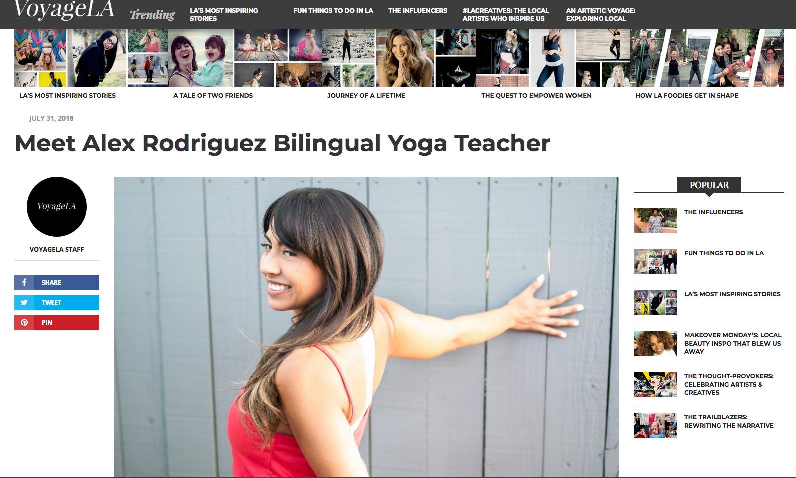 INTERVIEW: MEET ALEX RODRIGUEZ BILINGUAL YOGA TEACHER - VOYAGE LA MAGAZINE