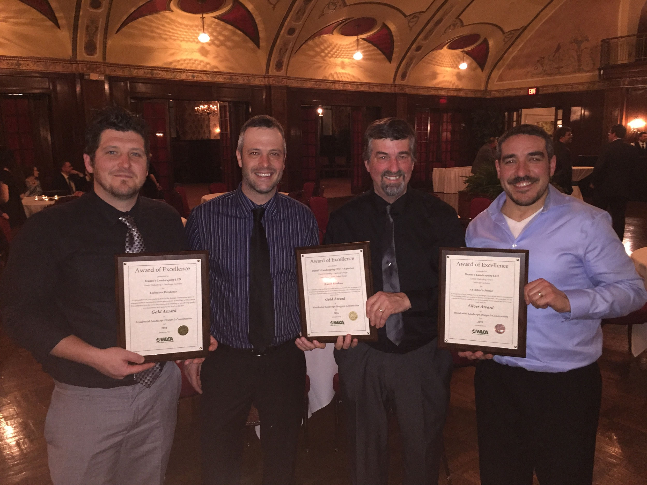 Daniel's Landscaping was honored at the WLCA Excellence in Landscaping Awards Banquet at the Wisconsin Club.  Pictured from left to right: Jared Stuht, Matt Stuht, Dan Stukenberg and Ciano DeLeon