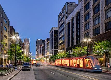 Conceptual image of Detroit's QLINE. Rendering: M1 Rail