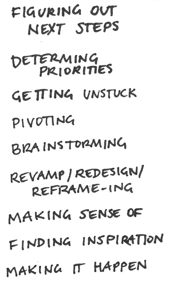 figuring out next steps  determining priorities  getting unstuck  pivot-ing  brainstorming  revamp / redesign /reframe-ing  making sense of  finding inspiration  making it happen