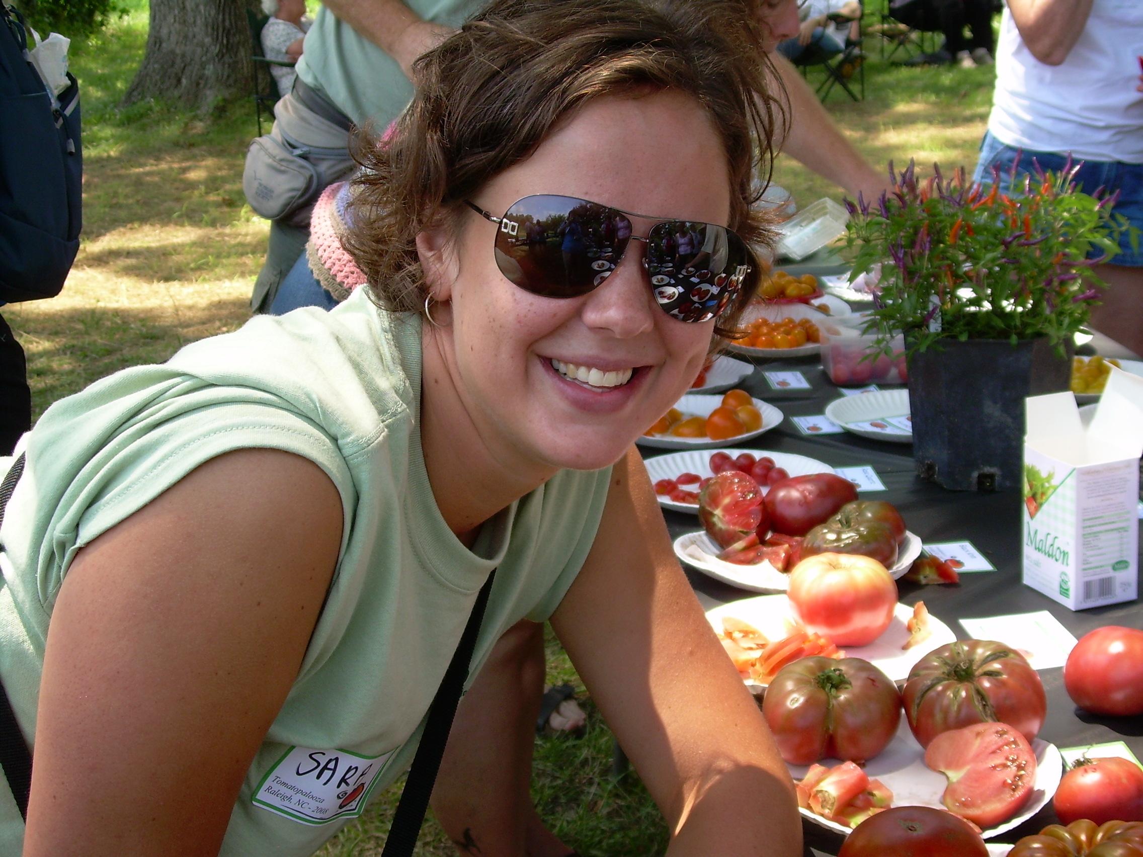 Me at Tomatopalooza 2008 - those sunglasses are cool.