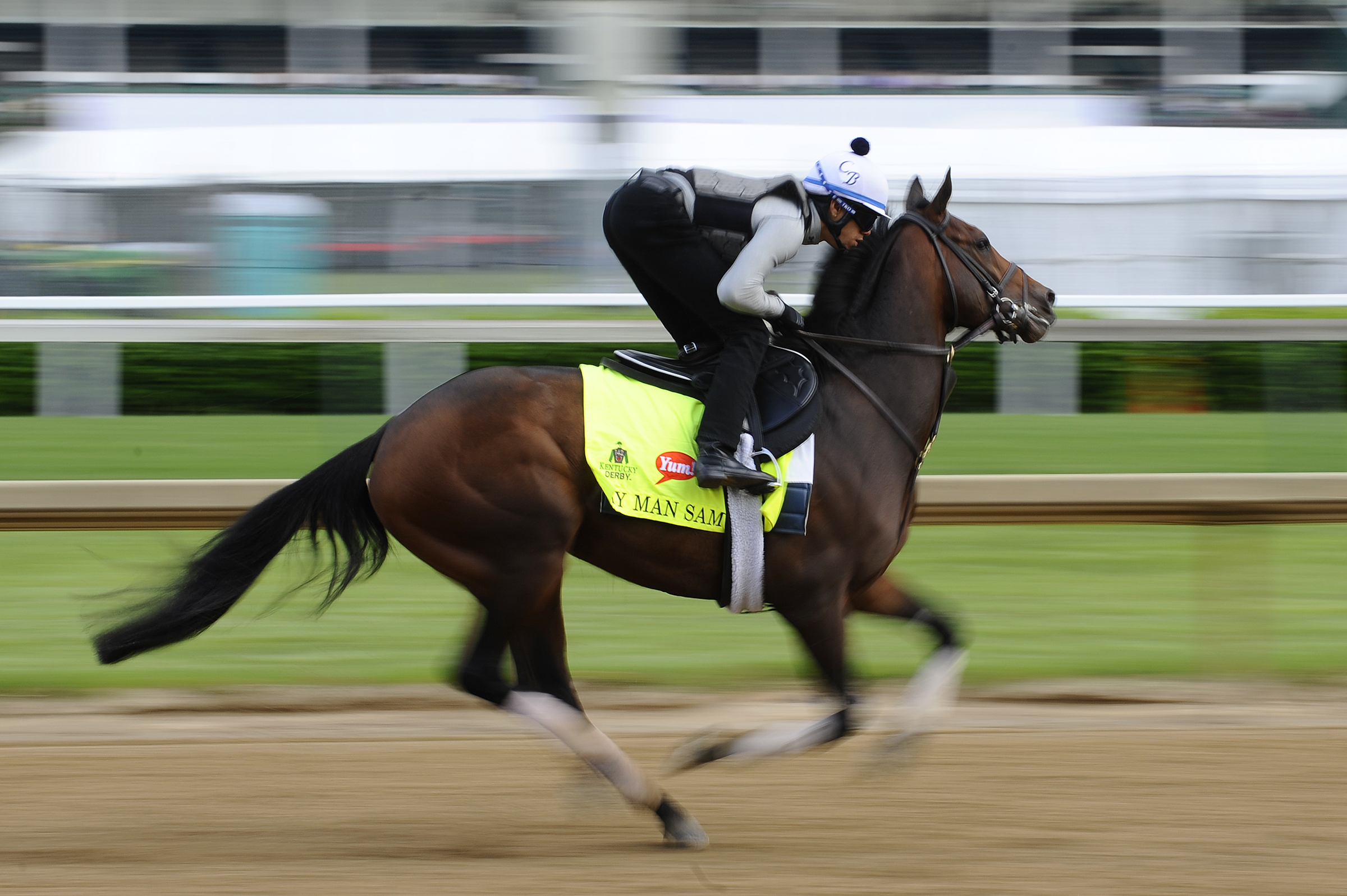 Kentucky Derby horse My Man Sam goes through morning workouts on Wednesday, May 4, 2016, at Churchill Downs racetrack.